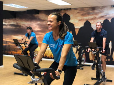 Group cycling class at Exmouth Tennis and Fitness Centre in East Devon